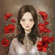 Red Poppy Flower Woman #illust #illustration #red #redlips #redpoppy…