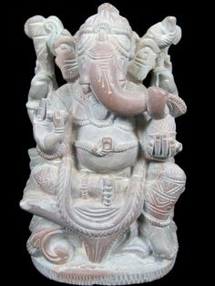 Hindu Gods Ganesha Stone Sculpture God of Good Luck Ganesh Statue 4"
