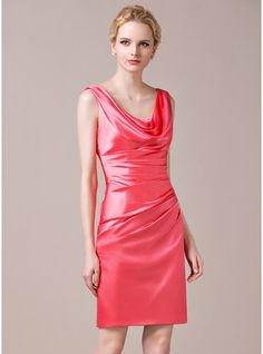 611a36225b1 Sheath Column Cowl Neck Knee-Length Charmeuse Bridesmaid Dress With Ruffle  Discount Bridesmaid Dresses