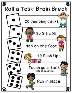 Quick and easy brain breaks! Roll a Task: Brain Break Physical Activities For Kids, Gross Motor Activities, Toddler Activities, Preschool Learning Activities, Preschool Lessons, Kids Brain Games, Preschool Body Theme, Preschool Curriculum Free, Games For Kids Classroom