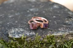 Natural, raw real ruby ring electroformed in copper. This listing is for one ruby ring. Please allow differences in stones as each one is unique and one of a kind. Stock photo: Your ring will be custom made at the time of your order. Please allow 3-6 business days to complete. Size: Please choose your custom size in the drop down menu.