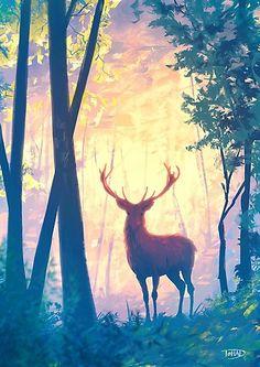 'The deer' Poster by Sylvain Sarrailh Image Ciel, Art Quotidien, Deer Art, Ouvrages D'art, Art Et Illustration, Art Plastique, Painting Inspiration, Amazing Art, Art Reference