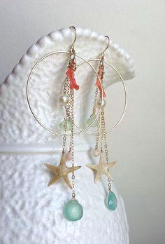 Starfish Hoop Dangle Earrings Beach Dangle por BellaAnelaJewelry