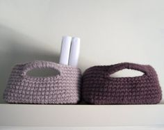 Crochet basket in cotton & linen in natural by maricatimonsina
