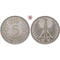 Bundesrepublik Deutschland, 5 DM 1968, Adler, F, vz-st, J. 387: 5 DM 1968 F. Adler. J. 387; vorzüglich-stempelfrisch 16,50€ #coins