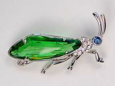 Insect Jewelry Blue Rhinestone Eye Large Faceted Green Body Grasshopper Pin | eBay