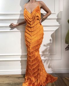 Buy African New Mermaid Evening Dresses With Tassel 2018 Arabic Aibye Party Gowns Muslim Strapless Formal Prom Dress Robe de soiree Look Fashion, High Fashion, Fashion Design, Travel Fashion, Dolce & Gabbana, Orange Dress, Orange Prom Dresses, Beautiful Gowns, Elie Saab