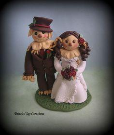 Wedding Cake Topper, Custom Wedding Topper, Scarecrow Wedding Cake ...