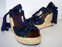 74.99$  Watch now - http://viwbx.justgood.pw/vig/item.php?t=13xu4r24858 - Marc By Marc Jacobs Blue Sequin Espadrille Platform Wedges Sandals 37 US sz 6.5