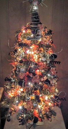 Giants themed xmas tree inspired by my nephew Walt.  May he rest in peace