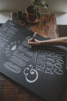 """kellyelainesmith: """" Jess crafting some chalk type for the UBB flagship store © Kelly Smith Photography """" Chalkboard Typography, Blackboard Art, Chalk Lettering, Diy Chalkboard, Coffee Bad For You, Coffee Love, Coffee Art, Kelly Smith, Art Inspo"""