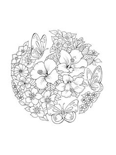 Adult Coloring Book Creations: Sample printables from Butterfly Utopia These ima. Printable Flower Coloring Pages, Mandala Coloring Pages, Abstract Coloring Pages, Coloring Pages For Grown Ups, Free Adult Coloring Pages, Colouring Pages For Adults, Butterfly Coloring Page, Coloring Books, Coloring Sheets