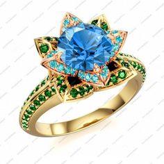 14K GP 925 Silver Disney Princess White Multicolor Ring Free Shipping via VorraFashion