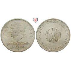 Weimarer Republik, 3 Reichsmark 1929, Lessing, F, vz-st, J. 335: 3 Reichsmark 1929 F. Lessing. J. 335; vorzüglich-stempelfrisch,… #coins