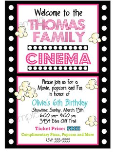 Movie Night Birthday Party Invitations,  Movie and Popcorn, Birthday party,  Children, kids, film strip. $1.59, via Etsy.