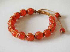 Orange Carnelian stone bracelet  macrame  by ShambhalaJewelry, $55.00