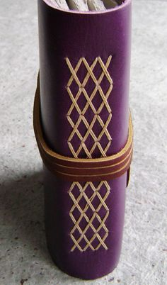 "Leather journal, 4"" x 6"", violet/purple, handmade journal by Dancing Grey Studio…"