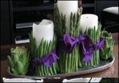 Asparagus-wrapped pillar candles
