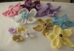 Knit flowers for headband, hats, blankets, scarfs, etc..