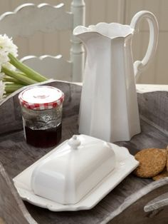 white pitcher  and butter dish                        ****