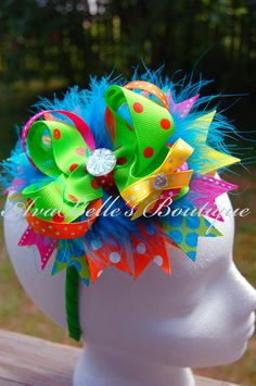 Bright, colorful Boutique Bow from AvaBelle's Boutique on Facebook