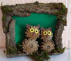 Поделки из шишек и пластилина в школу и детский сад для детей Nature Crafts, Fall Crafts, Diy Crafts For Kids, Christmas Crafts, Arts And Crafts, Christmas Ornaments, Pine Cone Art, Pine Cone Crafts, Pine Cones