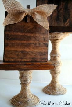 Dollar Store Challenge | Jute-wrapped Glass Candlestick #SouthernColor