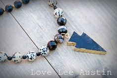 Gorgeous Black and Gold Electroplated Arrowhead Beaded Pendant Necklace by Love Lee Austin on etsy www.LoveLeeAustin.etsy.com long necklace black gold arrow tassel tassle agate drusy druzy beads boho chic hippie bohemian beige off white austin tx