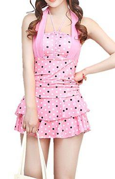 Pink White Black Polka Dot Bathing Suit