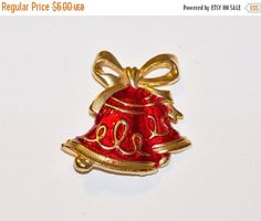 30% OFF Vintage Christmas Bells Pin Brooch by YoursOccasionally