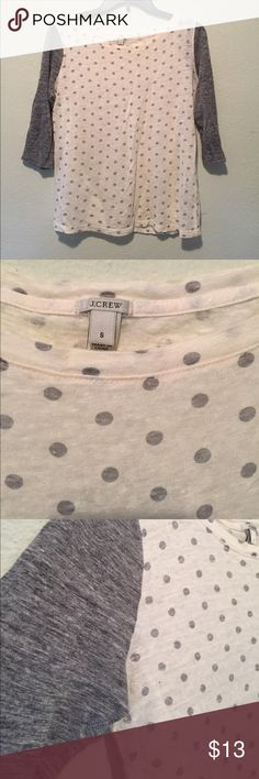 JCrew White and Grey Dot T-shirt Small Super cute white with grey dots 3/4 T-shirt with grey sleeves! Women's small from JCrew in excellent condition. Worn only a few times! J. Crew Tops Tees - Long Sleeve