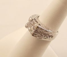 Ladies Russian Formula Clear CZ Designed Silver Ring~Size 4 Free Gift Box