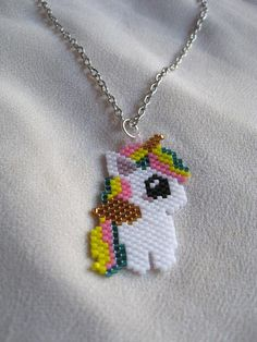 Unicorn necklace Beaded unicorn pendant for kids Pegasus charm for necklace Gift for girls Christmas gift Seed Bead Patterns, Beaded Jewelry Patterns, Beading Patterns, Bracelet Patterns, Stitch Patterns, Seed Bead Jewelry, Bead Jewellery, Seed Bead Projects, Beaded Banners