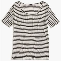 J.Crew 10 Percent T-Shirt ($48) ❤ liked on Polyvore featuring tops, t-shirts, shirts, tees, j crew t shirts, j crew shirts, striped tee, white shirt and slim fit white t shirt