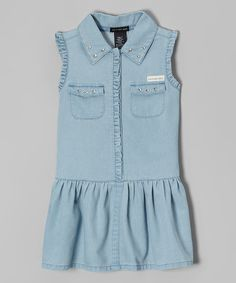 Look at this Light Blue Stud Ruffle Dress - Infant, Toddler & Girls on #zulily today!