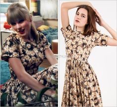"""""""We Are Never Ever Getting Back Together"""" music video Thanks Meg! Suzy Perette 'Vintage Silk Daisy Dark Floral Dress' - $295.00 (Size S, Etsy) Can you believe that Taylor's exact daisy dress she wore in the """"WANEGBT"""" is still available for purchase..."""