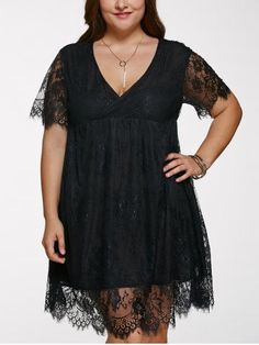 SHARE & Get it FREE | Join RoseGal: Get YOUR $50 NOW!http://m.rosegal.com/plus-size-dresses/alluring-v-neck-plus-size-lace-dress-630491.html?seid=6550411rg630491