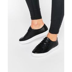 SixtySeven Irma Black Lace Up Trainers (5.960 RUB) ❤ liked on Polyvore featuring shoes, sneakers, black, black trainers, leather lace up sneakers, black shoes, leather sneakers and chunky black shoes