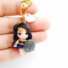 Wonder Woman DC comics Batman v vs Superman Gal Gaddot Polymer Clay Keychain Necklace dawn of justice by MintFoxBoutique on Etsy Cute Polymer Clay, Cute Clay, Fimo Clay, Polymer Clay Charms, Polymer Clay Projects, Polymer Clay Creations, Clay Crafts, Polymer Clay Jewelry, Clay Keychain