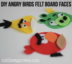 DIY Angry Birds Felt Board Faces         (+Free Pattern). This activity is great for teaching about colors, shapes, expressions, feelings,face features, body parts - Re-pinned by @PediaStaff – Please Visit http://ht.ly/63sNt for all our pediatric therapy pins
