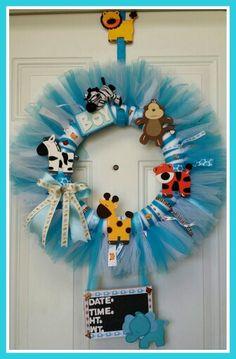 Jungle theme baby boy tulle hospital door wreath.