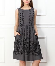 This Charcoal & Black Pocket Sleeveless Dress by Reborn Collection is perfect! #zulilyfinds