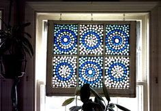 """stained glass instead of traditional window treatment - re-purposed or diy (HGTV, """"That's Clever"""": Episode 314 ) Traditional Window Treatments, Traditional Windows, Faux Stained Glass, Stained Glass Projects, Mosaic Art, Mosaic Glass, My Glass, Glass Art, Mosaic Windows"""