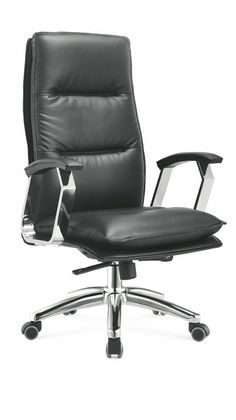 Foshan black genuine leather executive boss office chair managerial swivel chair -1