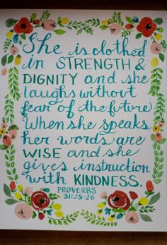 Proverbs 31 Floral Calligraphy and Watercolor