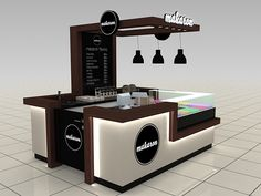 Makaron Shopping Mall Stand Design on Behance Cafe Shop Design, Kiosk Design, Cafe Interior Design, Retail Design, Store Design, Design Web, Signage Design, Graphic Design, Design Ideas