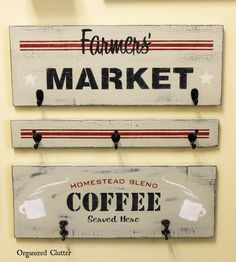 Rustic Farmers' Market and Coffee vintage styled signs in cream, red and black, using Funky Junk's Old Sign Stencils / By organizedclutter.net