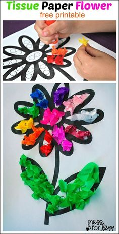 Flower Crafts- More than 20 Kids Crafts tissue paper spring flower crafts- - 20 spring flower craftsMore More or Mores may refer to: Spring Crafts For Kids, Summer Crafts, Spring Flowers Art For Kids, Spring Crafts For Preschoolers, Beach Crafts, Summer Art, Art Floral, Tissue Paper Crafts, Diy Paper