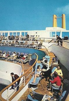 """Canberra"" - Sun terraces First class pool P&o Cruises, Love Boat, Draw On Photos, Beautiful Ocean, Tall Ships, Ocean Waves, Vintage Travel, Travel Posters, Sailing"