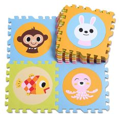30*30*1.4cm Soft Foam EVA Floor Mat Jigsaw Puzzle Mats Kids Playmats 10pcs Numbers + 10 Cartoon Images Mats